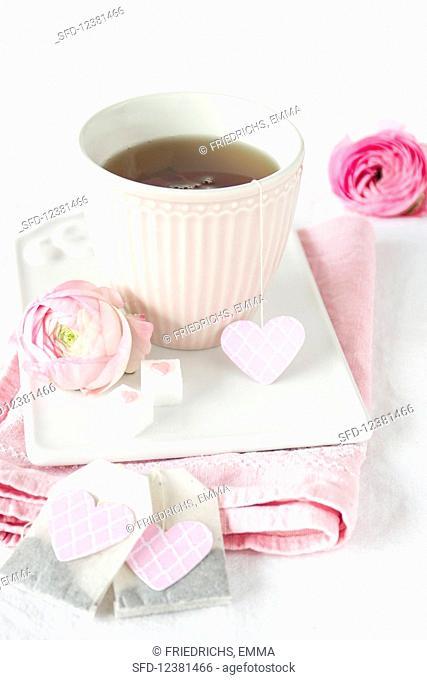 A teabag with a heart