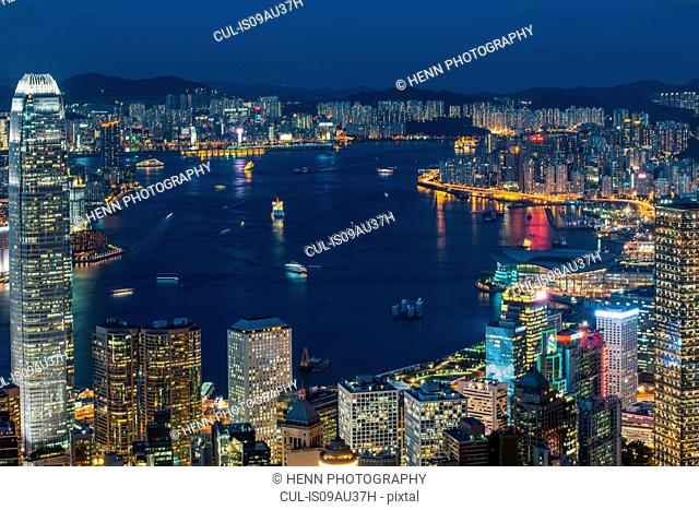 View of Hong Kong from Victoria Peak by night, Hong Kong, China