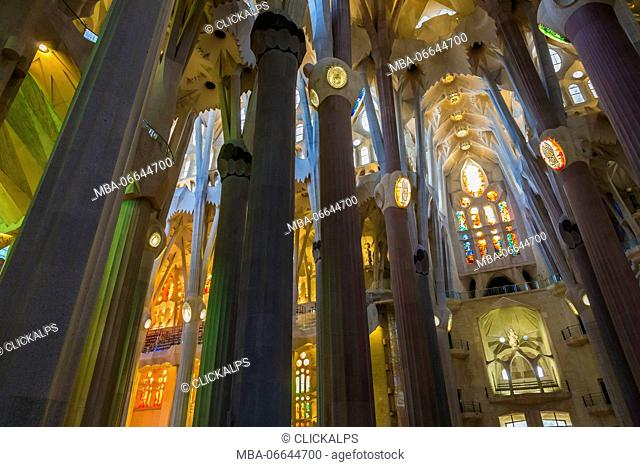 Spain, Barcelona, Sagrada Familia, Interior