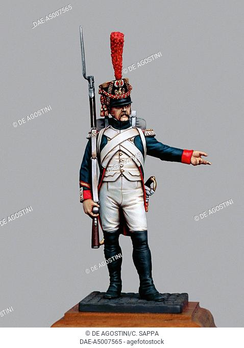 Sergeant of the Fusiliers-Grenadiers of the Imperial guard, 1809, 5.4 cm, toy soldier from the Napoleonic era, made by Bruno Leibovitz, Metal Modeles series
