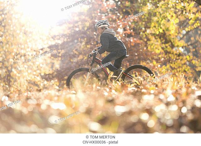 Boy bike riding in woods with autumn leaves