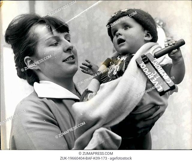 Apr. 04, 1966 - Baby named after Liverpool players.: Mr. Peter O'Sullivan a bricklayer, of Burton Upon Trent, Staffs, is a keen supporter of the Liverpool...