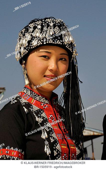 Karen woman in traditional costume, ethnic minority, Inle Lake, Shan State, Myanmar, Burma, Southeast Asia, Asia