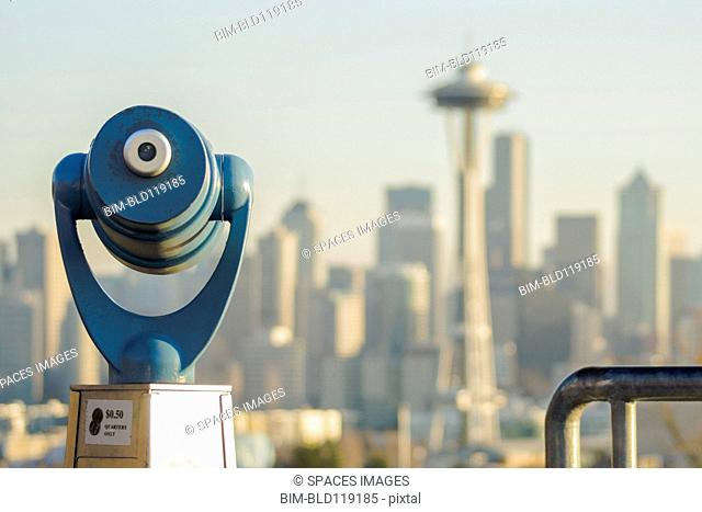 Telescope overlooking Seattle skyline, Seattle, Washington, United States