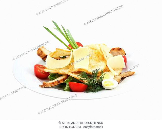 Beef salad, vegetables, cheese and toast on an isolated background