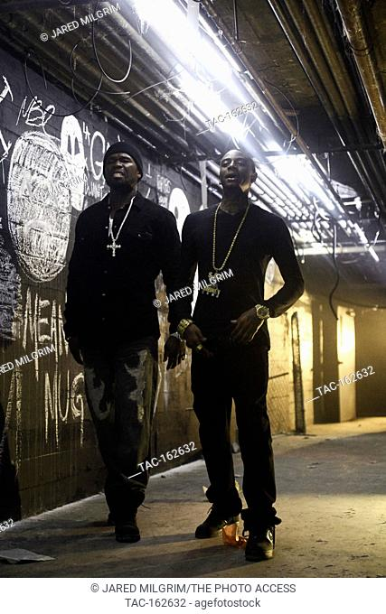 "(L-R) Curtis """"50 Cent"""" Jackson and Deandre """"Soulja Boy"""" Way on-set of their music video 'Mean Mug' directed by Colin Tiley on November 4"