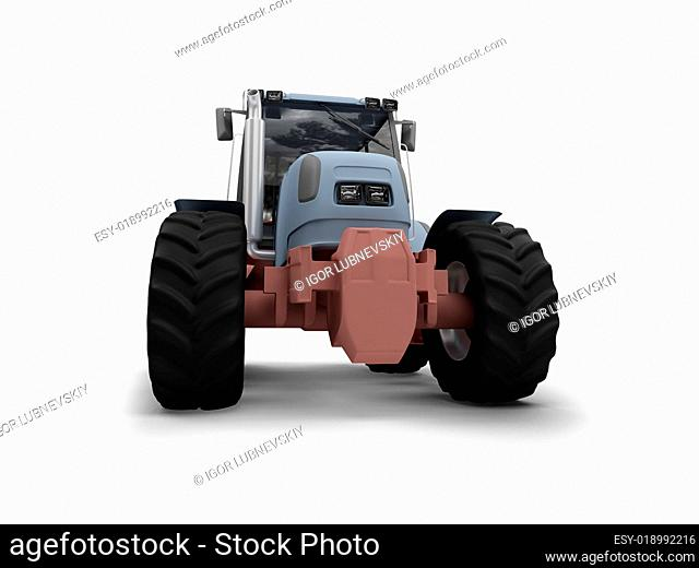 Tractor isolated heavy machine front view 02