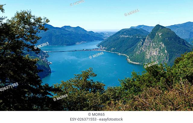Lugano, Switzerland - Juli 31, 2014: Images of the Gulf of Lugano from Monte Bré above the City