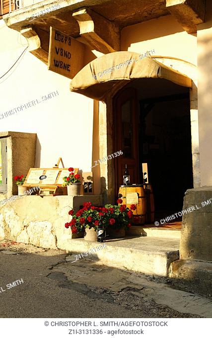 Vino Prosek winery store in Vrbnik, a small village on the Croatian island of Krk