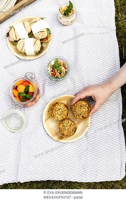 Hand taking muffin from picnic blanket with vegetarian snacks