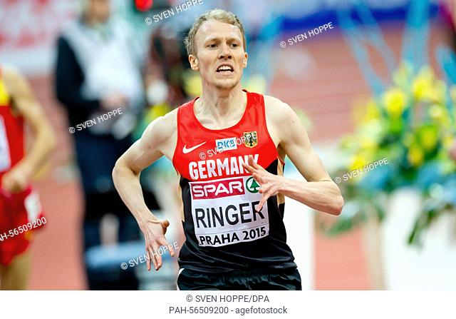 Richard Ringer of Germany in action during the men's 3000m final at the IAAF European Athletics Indoor Championships 2015 at the O2-Arena in Prague