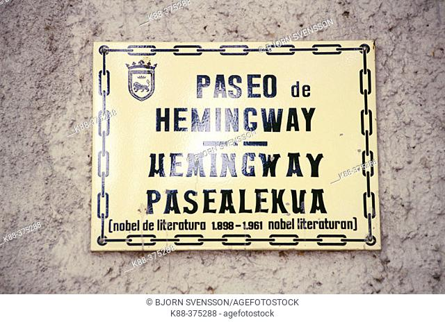 Paseo de Hemingway street sign. Pamplona. Navarra, Spain