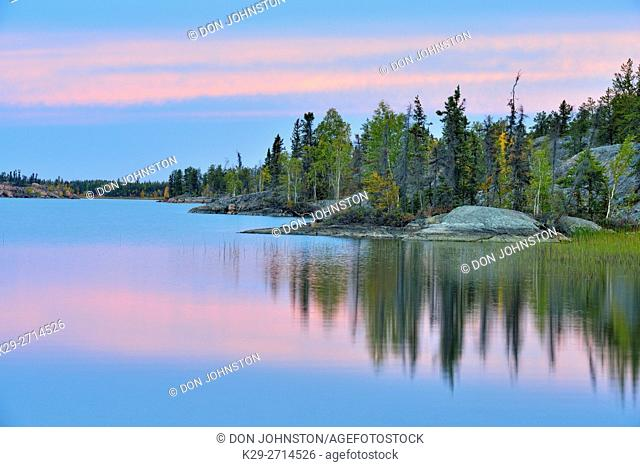 Reflections in Long Lake, Fred Henne Territorial Park, Northwest Territories, Northwest Territories, Canada