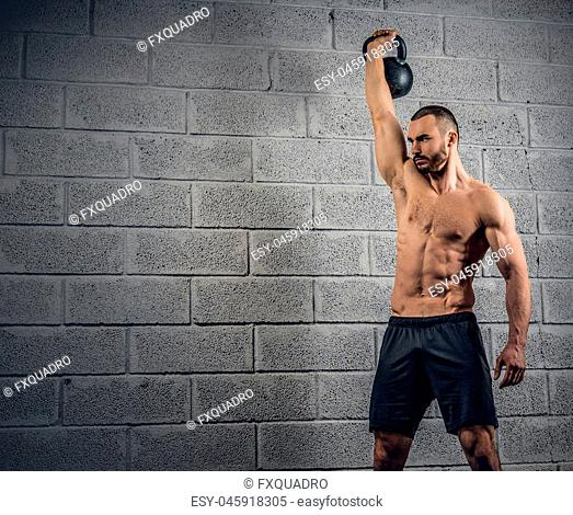 Shirtless athletic bearded male doing workouts with dumbbells over grey wall background