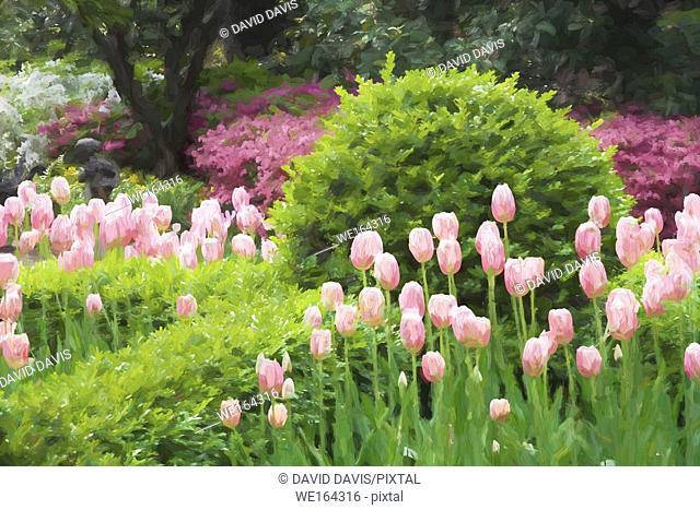 Impressionist art of a beautiful garden in Charleston South Carolina