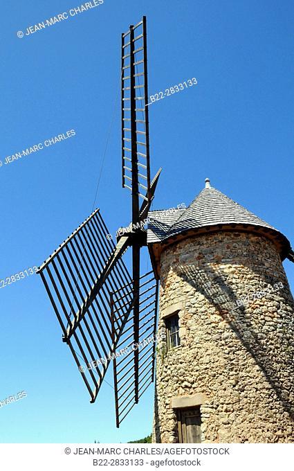 Windmill at La Couvertoirade, Aveyron, Midi-Pyrénées, France