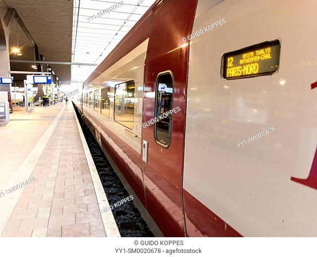 Rotterdam, Netherlands. Thalys train bound for Paris, France leaving Rotterdam Central Station