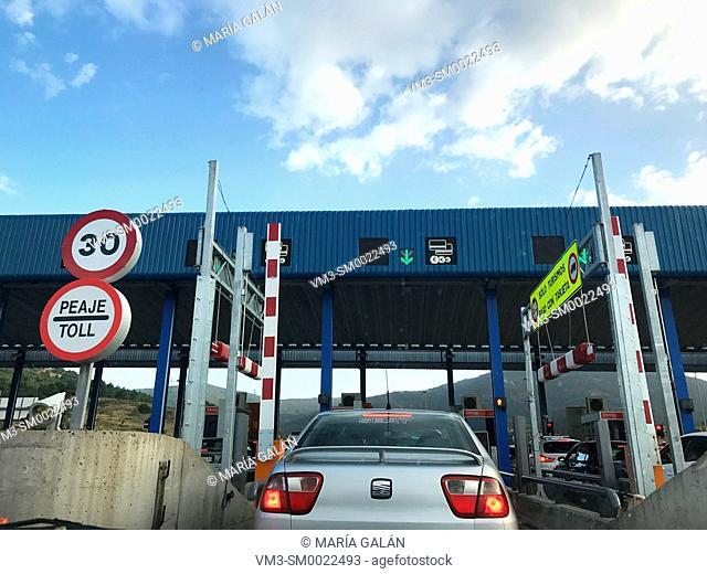Toll. A-6 Highway, San Rafael, Segovia province, Castilla Leon, Spain