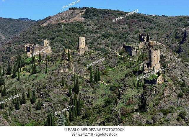 Castles of Lastours: Quertinheux, Surdespine, Tour Regine and Cabaret, Lastours, Languedoc-Roussillon, France