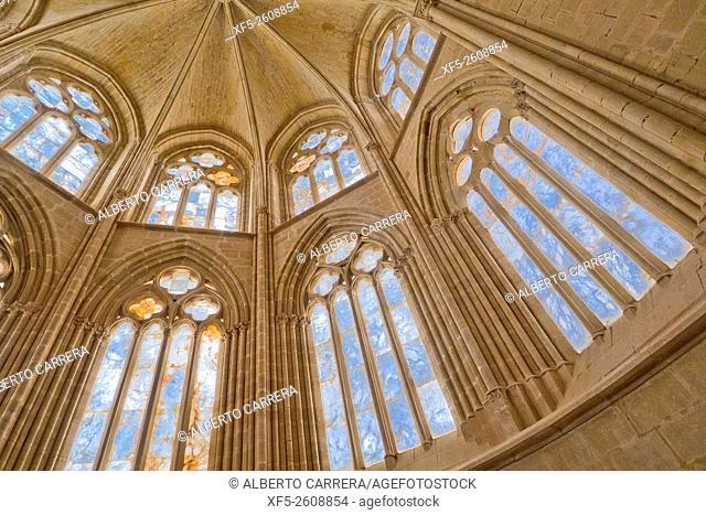 Traceried Windows, Monastery of Cañas, Abadía Cisterciense de Cañas, Abadía of Santa María de San Salvador, Monasterio de la Luz, Cañas, La Rioja, Spain, Europe