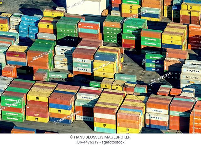 Container terminal Logport II, stacked containers, Duisburg, Ruhr district, North Rhine-Westphalia, Germany