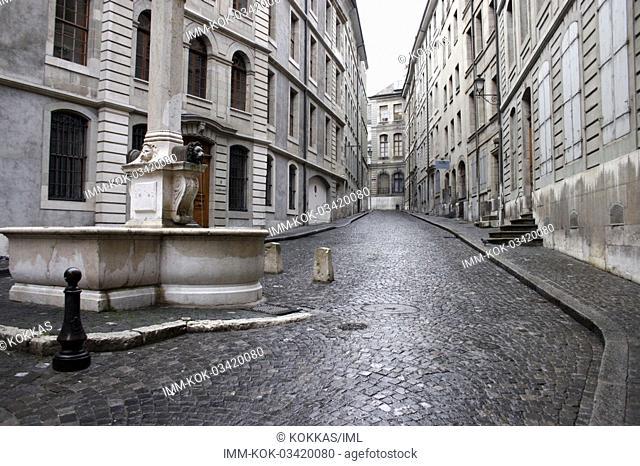 Old town, deserted street  Geneva, Switzerland, Europe