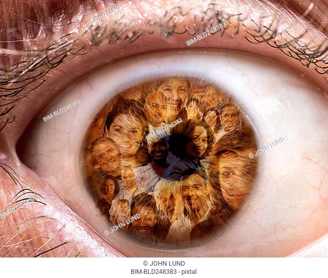 Collage of people in eyeball