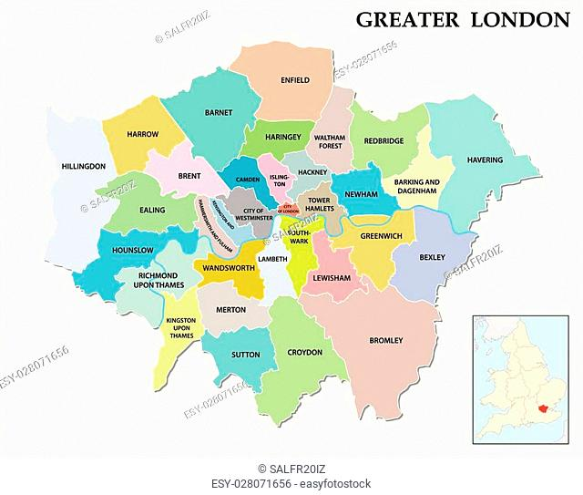 greater london administrative and political map
