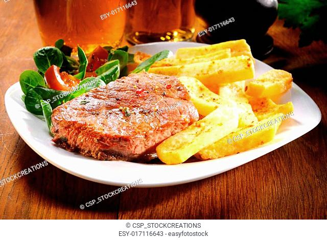 Healthy Grilled Beef and Potato Fries on Plate