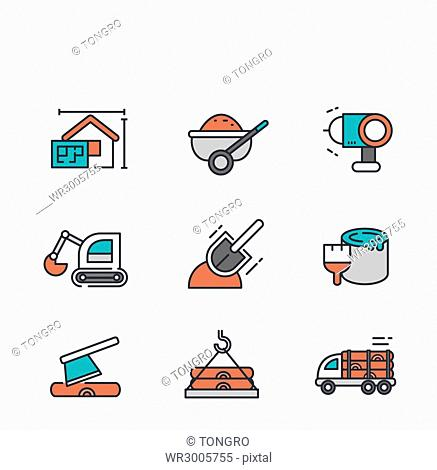 Set of line icons related to construction