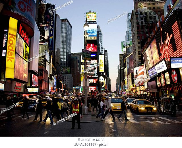 Times Square in early evening, Manhattan, New York City, New York, United States