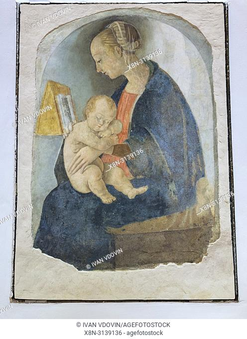Virgin Mary with Child, fresco painting, Raphael's house, Urbino, Marche, Italy
