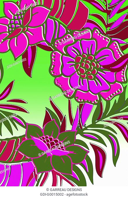 Magenta and green tropical flowers and leaves