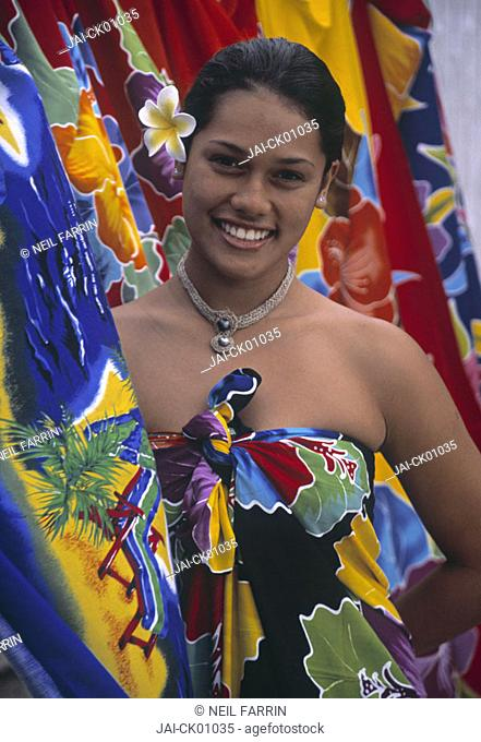 Portrait of young woman, Cook Islands