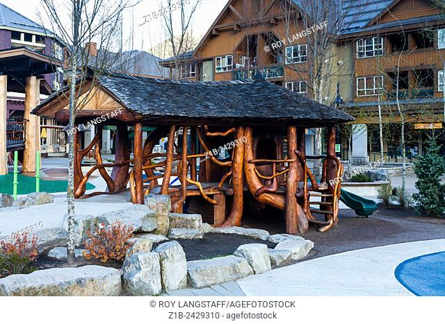 Childrens playhouse in Whistler Village constructed from tree limbs and branches