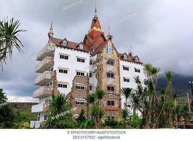 Traditional building with Thai architecture next to the temple of Pha Sorn Kaew, Khao Kor, Phetchabun, Thailand