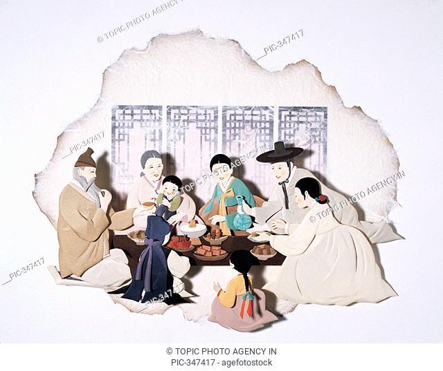 Paper Illustration, Family Reunion on Festival day,Korea