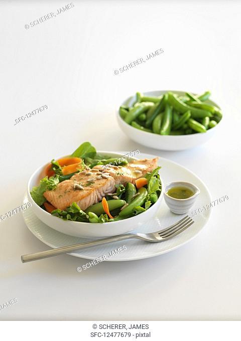 Salmon on pea salad
