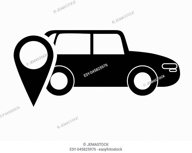 flat design car and gps map pointer icon vector illustration