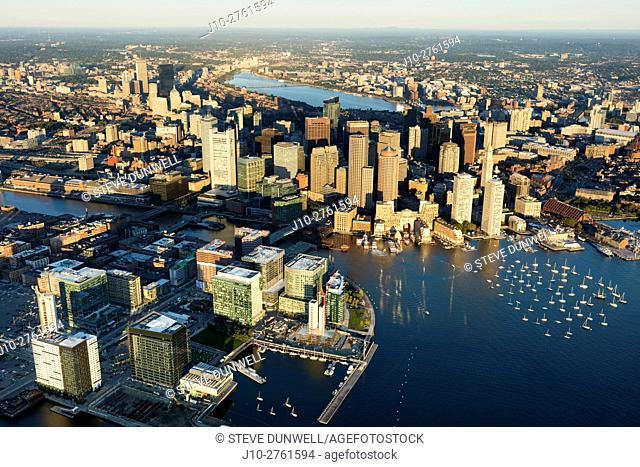Seaport district, aerial, Fan Pier, South Boston, Massachusetts, USA