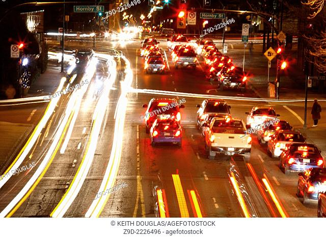 Long exposure of traffic at night in downtown Vancouver, British Columbia
