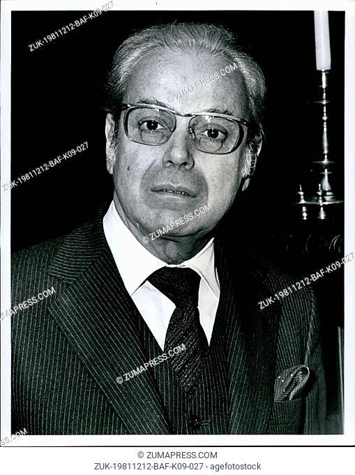 Dec. 12, 1981 - The General Assembly appoints by acclamation Javier Perez de Cuellar as fifth Secretary-General for a five year term beginning Jan