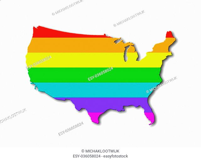 USA - Map, filled with a rainbow flag pattern
