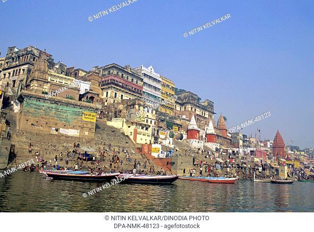 old buildings and temples at munsi ghat ; ahilyabai ghat ; dasaswamedha ghat  ; river ganga ; varanasi ; uttar pradesh ; india