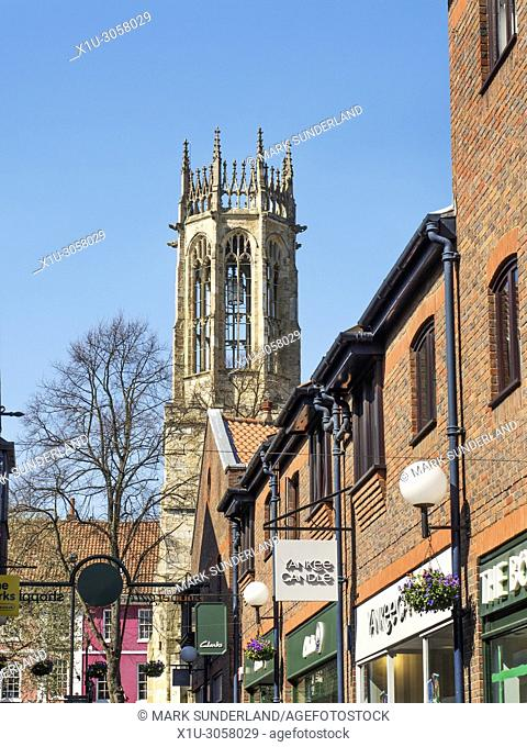 All Saints Pavement church tower from Coppergate York Yorkshire England
