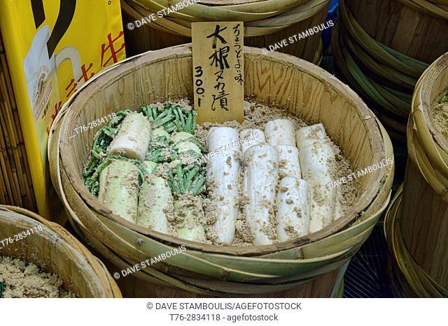 Tsukemono Japanese pickled daikon at the Nishiki Market in Kyoto, Japan
