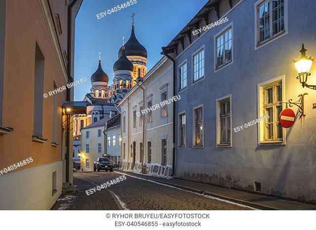 Tallinn, Estonia. Evening Or Night View Of Alexander Nevsky Cathedral From Piiskopi Street. Orthodox Cathedral Is Tallinn's Largest And Grandest Orthodox Cupola...