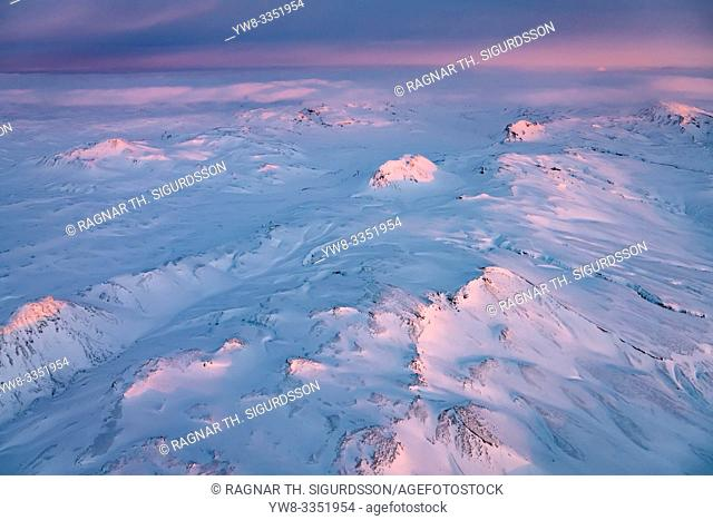 Sunset over mountains, Vatnajokull National Park, Iceland. Unesco World Heritage Site