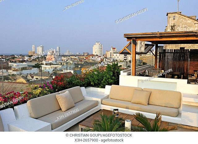 terrace on the top of the Movich Hotel in the downtown colonial walled city, Cartagena, Colombia, South America