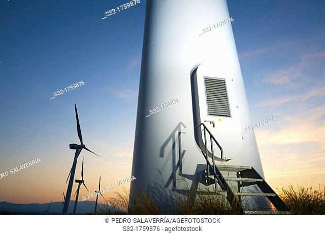 Group of windmills for renewable electric energy production, Fuendejalon, Zaragoza, Aragon, Spain